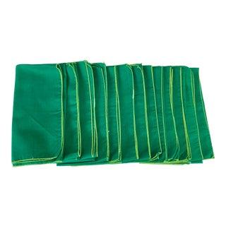 Vintage Green Dinner Napkins- Set of 12 For Sale