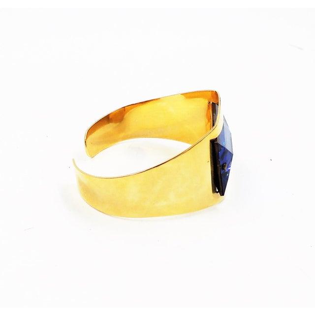 Modern 1970s Bijoux Cascio Italy Blue Rhinestone Cuff Bracelet For Sale - Image 3 of 9