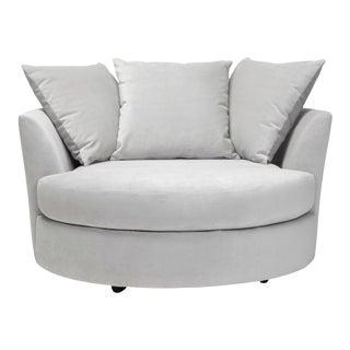 Large Gray Velvet Swivel Cuddle Chair For Sale