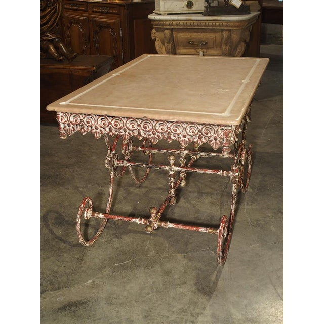 French Iron and Marble Pastry Table For Sale In Dallas - Image 6 of 13
