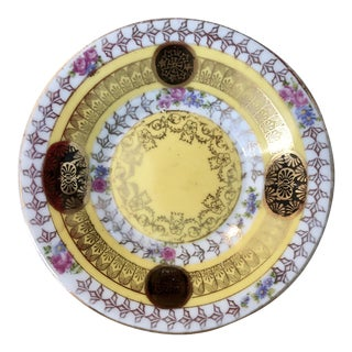 Small Yellow Ornate Gilt Floral Coaster Dish For Sale
