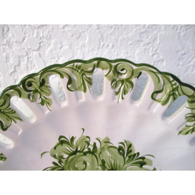 Vintage Portuguese Green Floral Serving Plate For Sale - Image 5 of 7