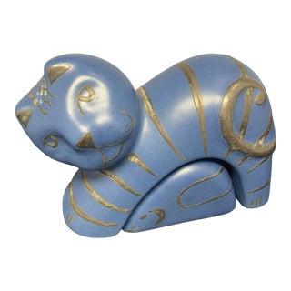 Vintage Emilia Castillo Blue Pottery Cat & Mouse Salt & Pepper Signed For Sale