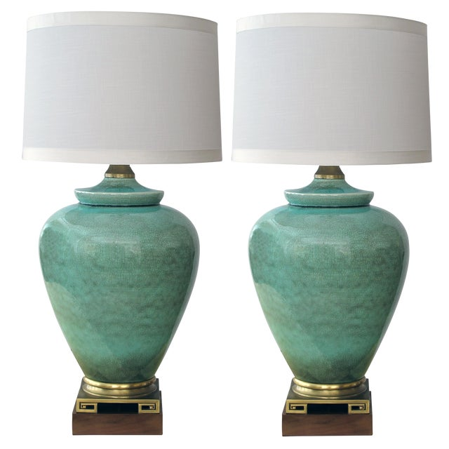 An over-scaled pair of American 1960's ovoid form celadon crackle-glaze lamps by Marbro - Image 1 of 4