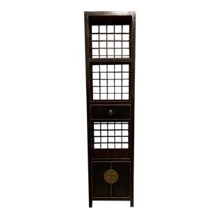 Asian Modern Black Ningbo Bookcase For Sale