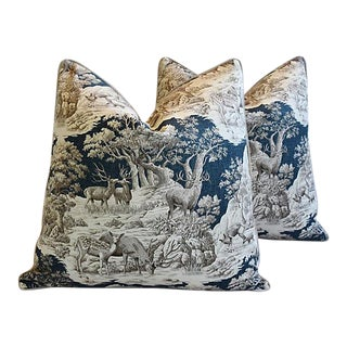 Custom Tailored Woodland Toile Deer/Elk & Velvet Feather/Down Pillows - A Pair For Sale