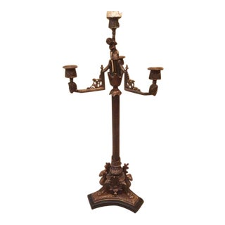 Antique French Marble and Brass Gilt Candelabra For Sale