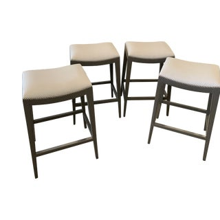 In-Stock Now Woodbridge & Duralee Fine Furniture Std. Height Saddle Seat Barstools- Set of 4 For Sale