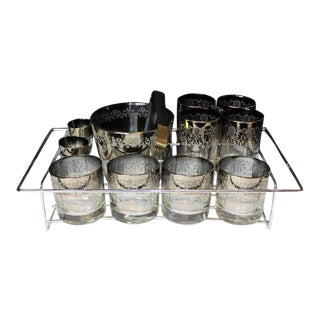 Mid Century Silver Fade Glasses With Silver Metal Filigree Overlay, in Chrome Carrier - 13 Pieces For Sale