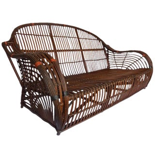 Handsome Rare Stick Wicker Sofa For Sale