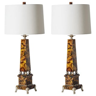 C.1970 Rare Pen Shell Obelisk Table Lamps, Custom Shades, A-Pair For Sale