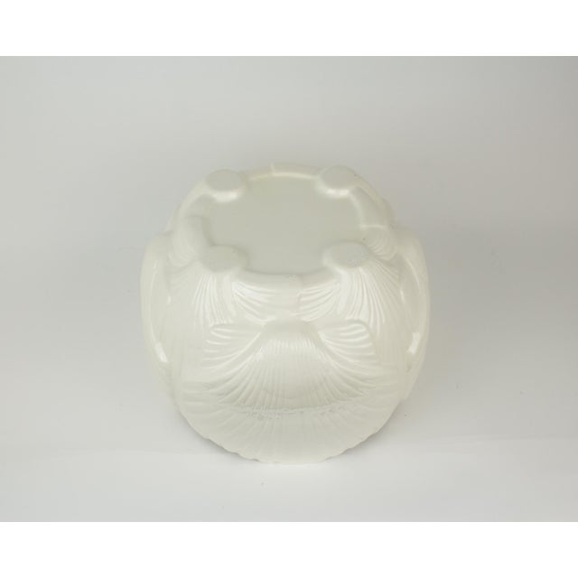 White Large White Ceramic Sea Shell Planter Cache Pot For Sale - Image 8 of 10
