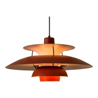 Poul Henningsen PH5 Lamp in Red for Louis Poulsen, Denmark, 1958 For Sale