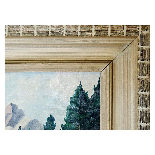 Mid-Century Mountain Scene Oil Painting - Image 5 of 7