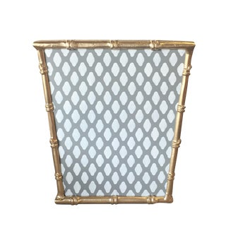 Traditional Style Gray Bamboo and Steel Wastebasket For Sale