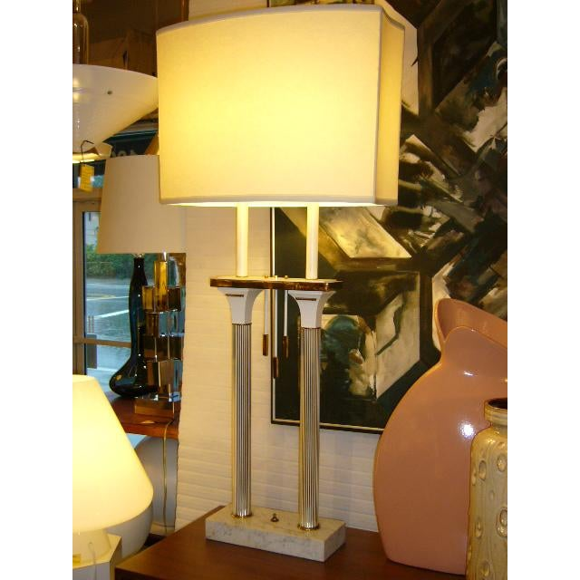 This sleek Modernist Double-Column Table Lamp has great scale, hailing from a very smart designer decorated period 1957...