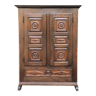 18th Century Rustic Italian Chestnut Armoire For Sale