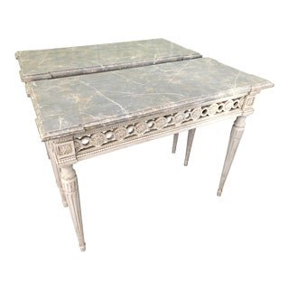 Antique French Wood Entry Tables - Set of 2 For Sale