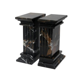 Black & Gold Marble Bookends - a Pair For Sale