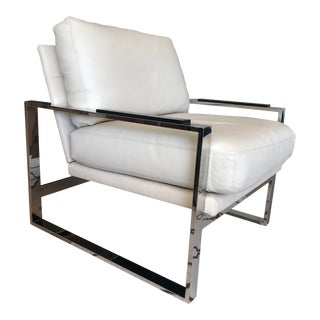 Vanguard Furniture White Modern Leather and Chrome Chair For Sale