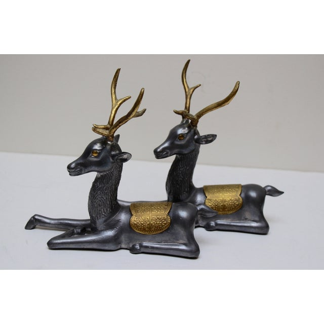 Pewter & Brass Seated Deer - A Pair - Image 2 of 5