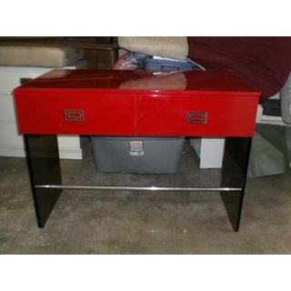Mod Chinoiserie 70's Red Lacquer Lucite Chrome Desk Preview
