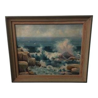 1950s Vintage Framed Waves Crashing on Rocks Seascape Oil Painting For Sale
