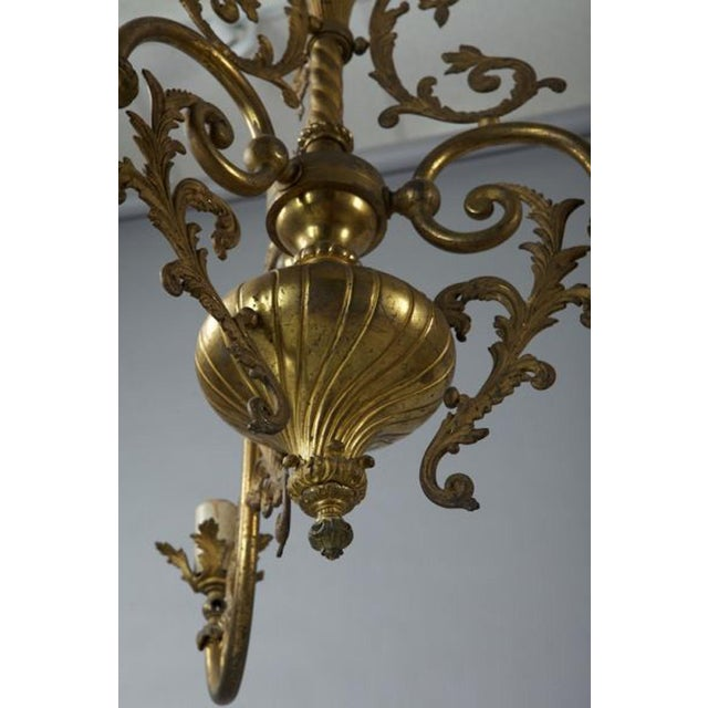 French Three Light Solid Cast Brass Chandelier For Sale - Image 4 of 8