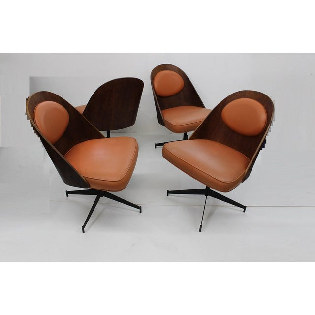 Mid Century Modern Bent Plywood and Vinyl Dining Chairs For Sale - Image 4 of 13