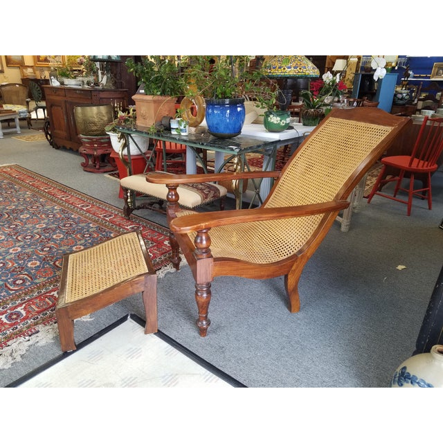 Teak Plantation Chair & Ottoman For Sale - Image 11 of 11