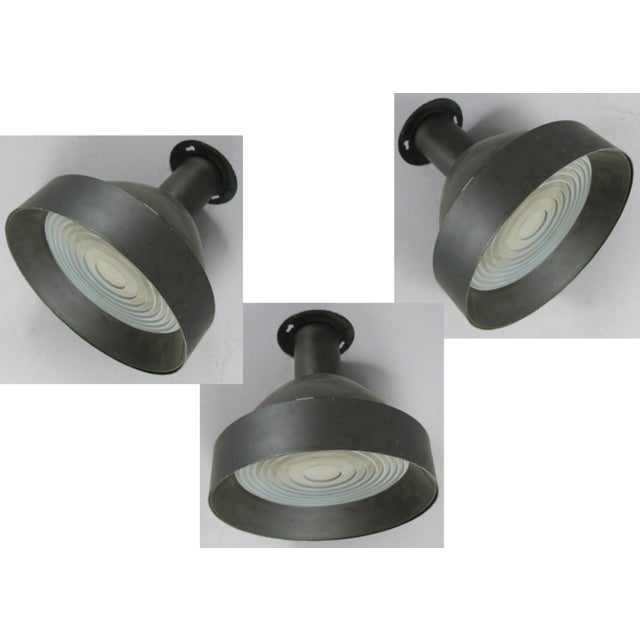 Glass 1950s Enameled Ceiling Lights by Lightolier - Set of 3 For Sale - Image 7 of 7