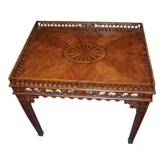 1930s French Marquetry Tea Table For Sale