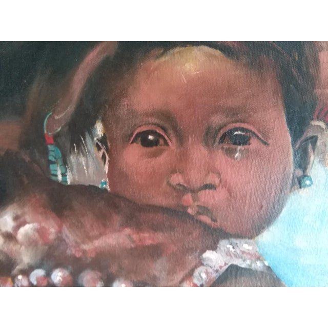 Impressionism Native American Woman & Child Mid-Century Western Painting For Sale - Image 3 of 5