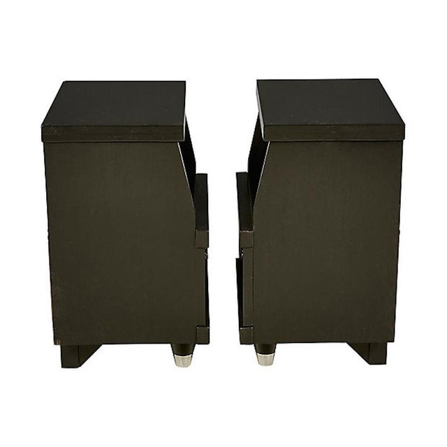 Chrome 1960s Black Lacquered Nightstands, Pair For Sale - Image 7 of 8