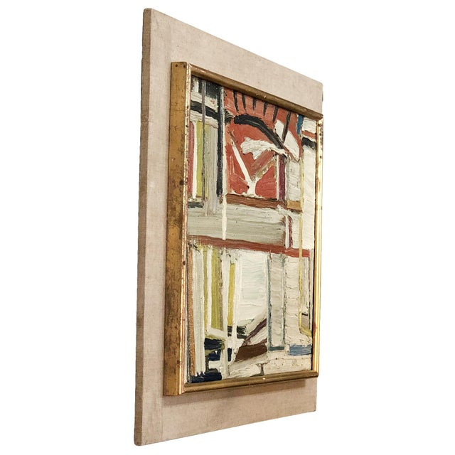 An abstract painting of books, oil on wood in canvas by Daniel Clesse, painted in France. Without the frame: 15 H x 18 W...
