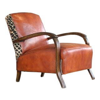 Small Lounge Chair in Cognac Leather and Brass and Leopard Accents, Denmark 1930s