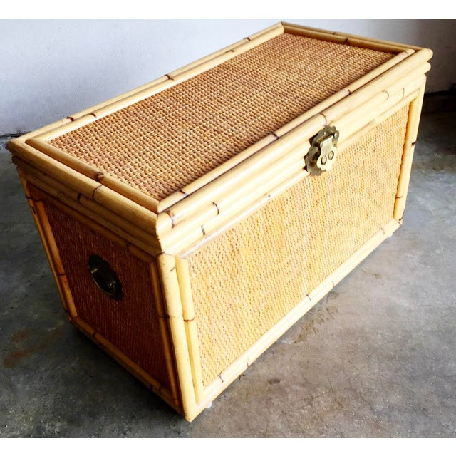 Vintage Bamboo Trunk Blanket/Toy Chest - Image 5 of 8