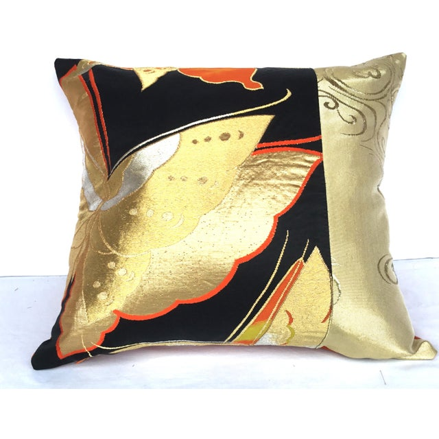 Vintgae Butterflies In Flight Japanese Obi Pillows - A Pair - Image 3 of 7