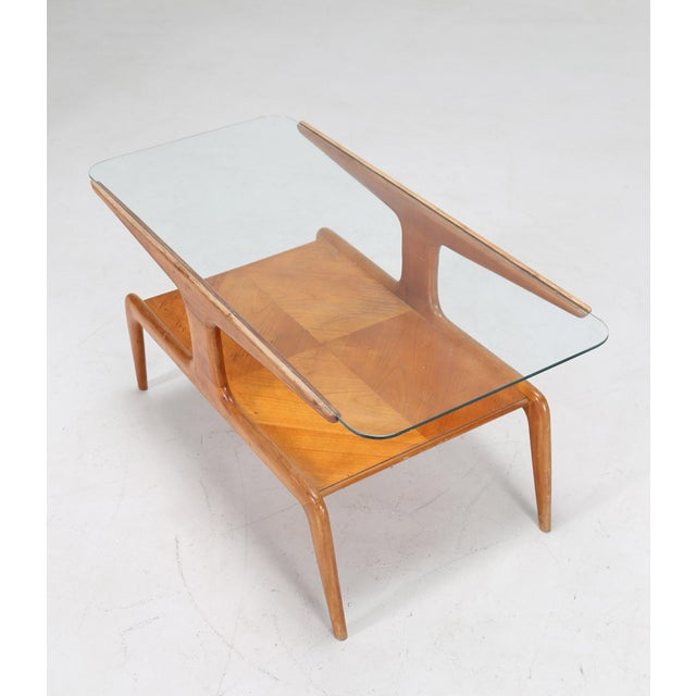 Ponti gio '(1891 - 1979) coffee table in ash and glass top, 50 years. Expertise by salvatore licitra archives gio ponti...