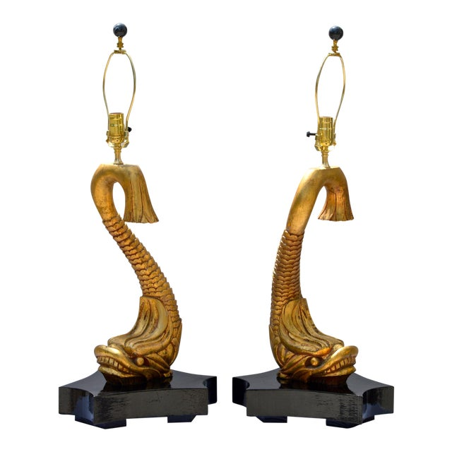 Giltwood Dolphine Lamps - a Pair For Sale