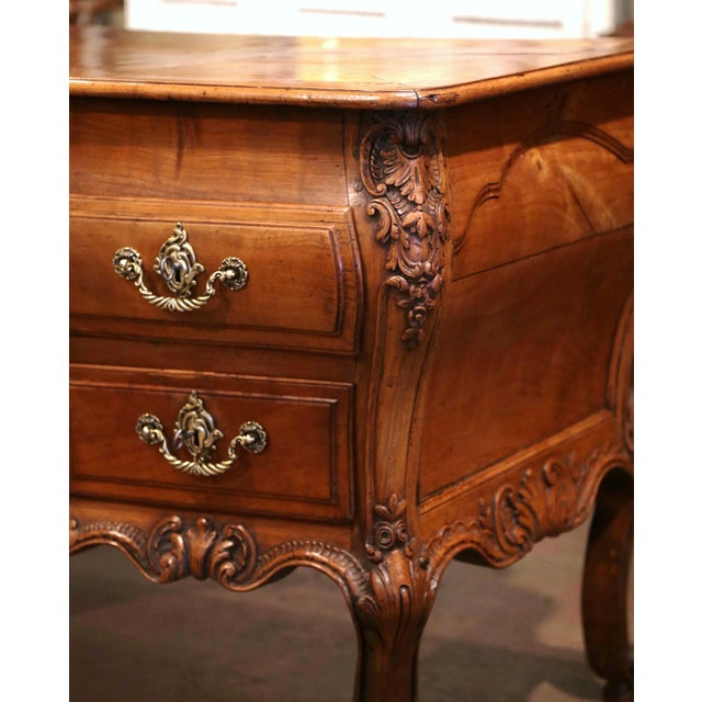 Metal 18th Century French Louis XV Carved Serpentine Cherry Desk With Parquetry Top For Sale - Image 7 of 13