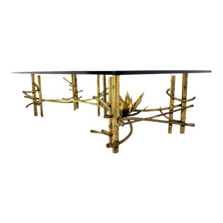 Mid-Century Modern Gilt Metal Rectangular Coffee Table For Sale
