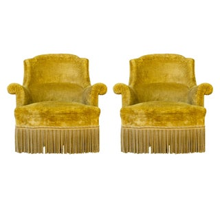 19th Century French Gold Velvet Armchairs-a Pair For Sale