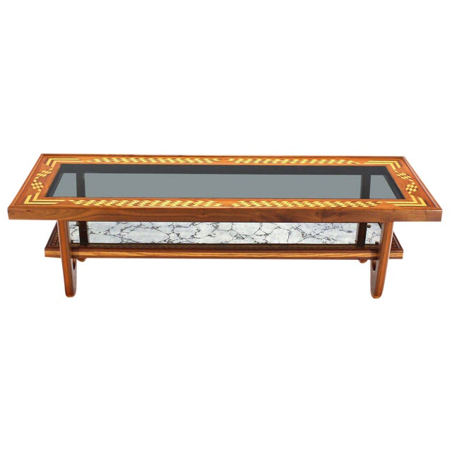 Walnut Smoked Glass Top Marquetry Design Long Coffee Table For Sale