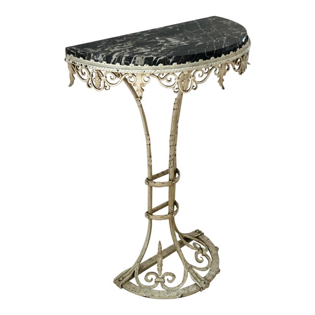 Antique Art Deco Painted Wrought Iron Marble Top Demilune Console Table For Sale