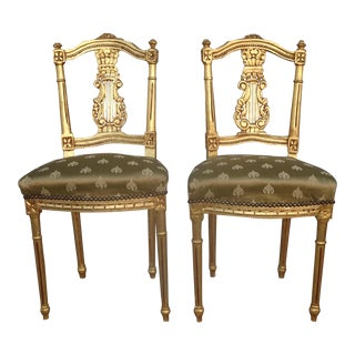 Vintage French Provincial Louis XVI Gold Gilt Accent Chairs - a Pair For Sale