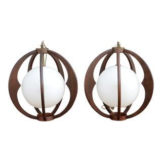 Sculptural Danish Modern Walnut & Frosted Glass Globe Pendants - a Pair For Sale