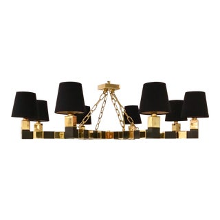 Currey and Co. Modern Brass and Black Bronze Metal Thelonius Chandelier For Sale