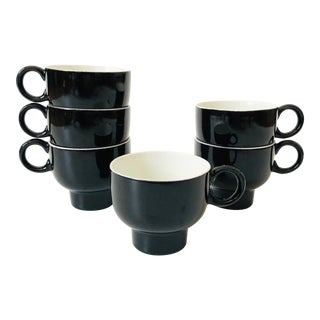 Mid Century G Meakin Black Mugs - Set of 6 For Sale