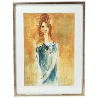 Young Woman Mid-Century Modern Abstract Painting For Sale